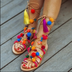 hot-summer-mixed-colors-pompoms-lace-up-women-sandals-font-b-flats-b-font-peep-toe